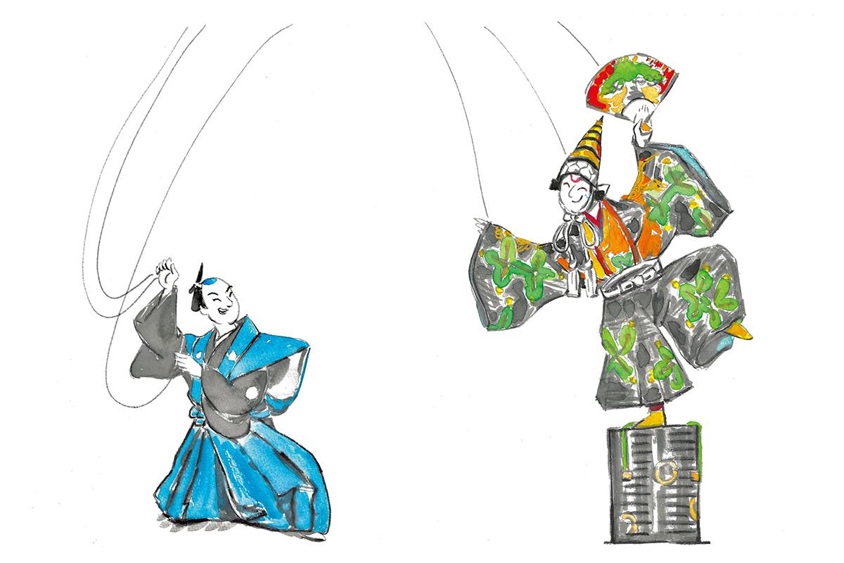 能から発展した歌舞伎ジャンル<br>「操り三番叟」三番叟と後見<br><small>おくだ健太郎の歌舞伎キャラクター名鑑</small>